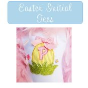Girl Easter Monogram Initial Tees Toddler and Big Girls