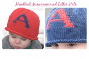 Hand Knit Monogram Letter Hat