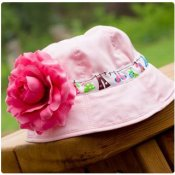 Baby Infant Sun Hat - choose your ribbon for band and flower