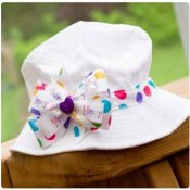 Toddler Sun Hat - choose your ribbon for band and bow