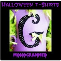 Girl Halloween Monogram Initial T-Shirts - Toddler and Big Girls