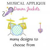 Girl MUSIC Applique Denim Jackets - Choose Your Design