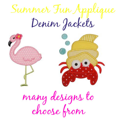 Boy Summer Themed Applique Denim Jacket - Choose Your Design - Click Image to Close