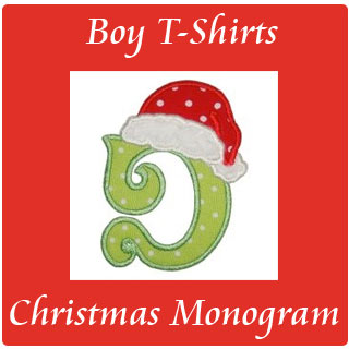 boy christmaswinter monogram initial t shirts