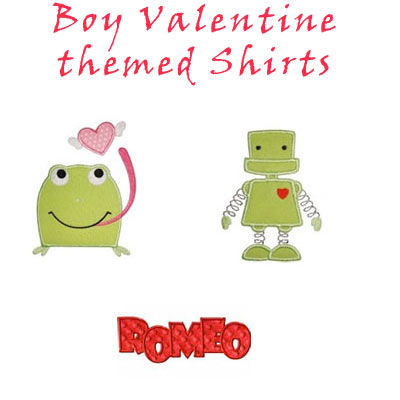 Boy Valentine Applique T-shirts - for Toddler Boys and Big Boys - Click Image to Close