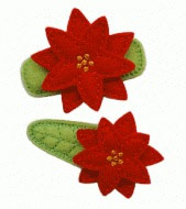 Poinsettia Felt Clippies - Set of two clippies