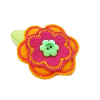 Stacked Flower Felt Clippies - Set of two clippies