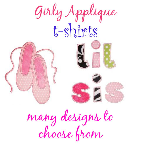 Girly Applique T-shirts - Toddler and Big Girls - Click Image to Close