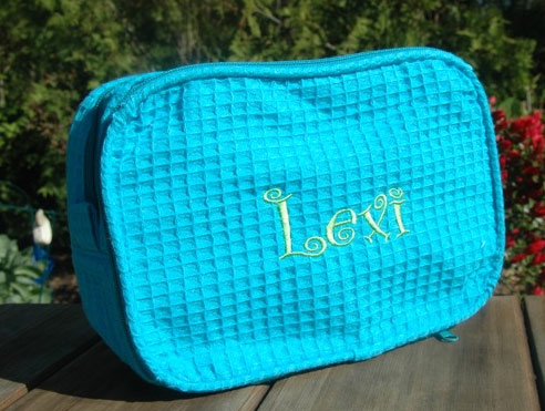 Personalized Waffle Weave Cosmetic Bag - Click Image to Close